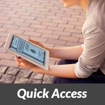 "Woman looking at tablet with ""Quick Access"" banner"