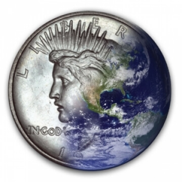 peace dollar obverse blended into planet earth