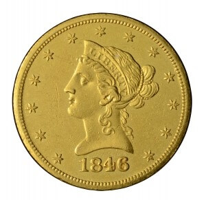 1846 liberty head gold piece obverse