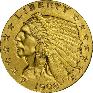 1908 indian gold piece obverse